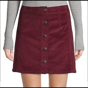 Red Corduroy A line Skirt